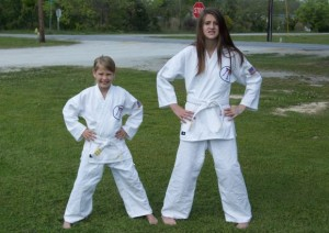 New Bern Sisters earn White Belt in Karate