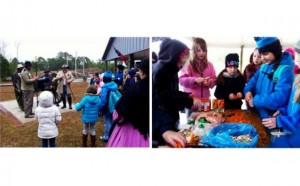 Left: Re-enactors from Reilly's Battery demonstrate loading and firing a Civil War cannon; Right: Girl Scouts prepare a stew at New Bern Civil War Battlefield Park