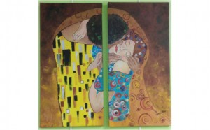 "Couples will paint this two-piece Valentine's Day Painting inspired by Klimt's ""The Kiss."""