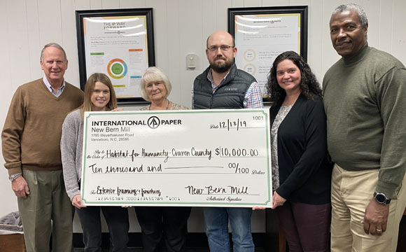 International Paper donation to Craven Habitat