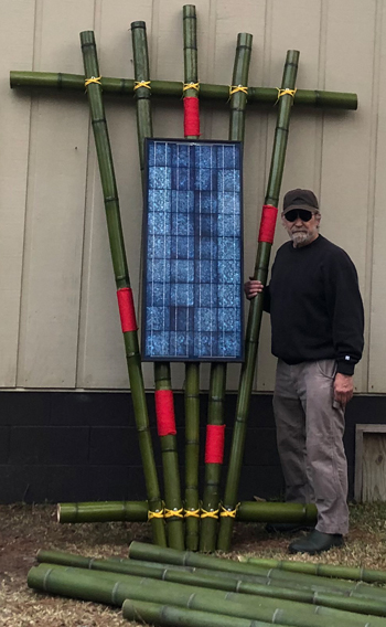 Tom and Solar Panel on Bamboo Grid