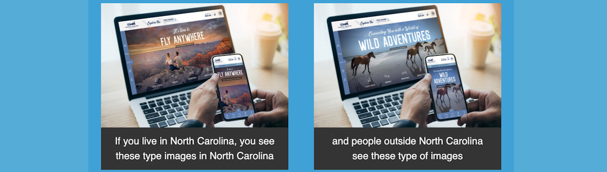 A screen shot shows a comparison of the Coastal Carolina Regional Airport. The version on the left is how visitors from inside North Carolina see the website. The other version is how visitors from outside the state see the website.