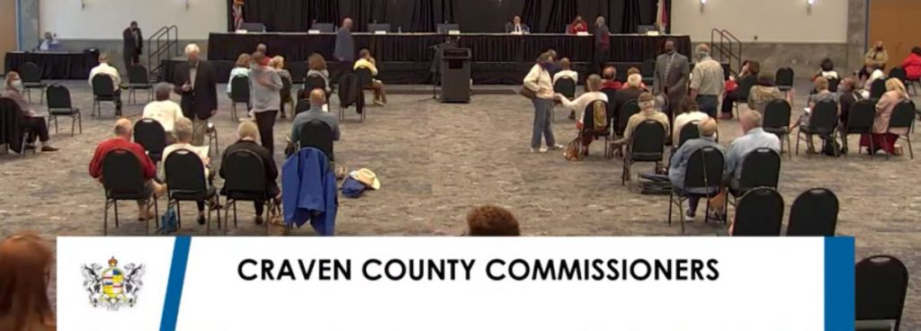 Screen shot of the Craven County Board of Commissioners meeting