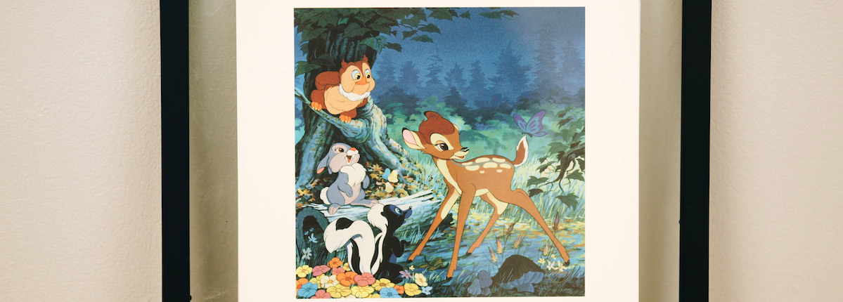 Vintage Disney lithograph of Bambi.