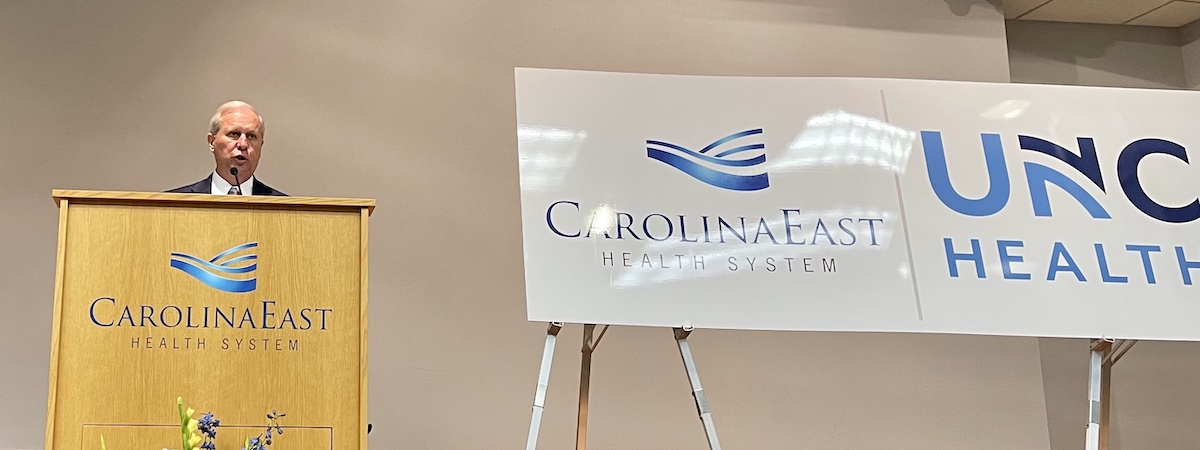 CarolinaEast CEO and President Ray Leggett announces the affiliation with UNC Health. Photo by Randy Foster / New Bern Now