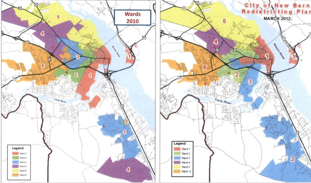 New Bern Redistricting 2010 and 2012 maps
