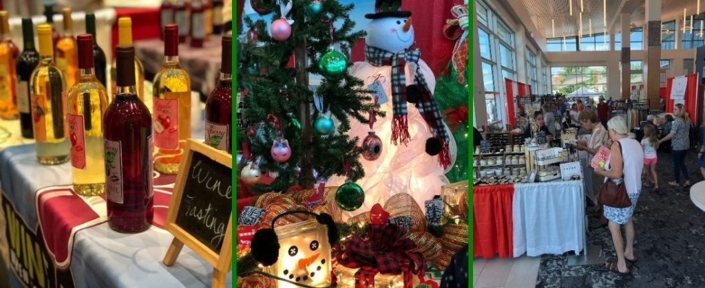 Photo of wine, Christmas gifts and shoppers