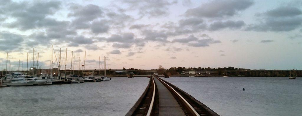 The railroad bridge over the trent river in new bern, nc